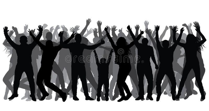 Siluetas de la gente en crecimiento completo, muchedumbre Gente alegre Vector libre illustration
