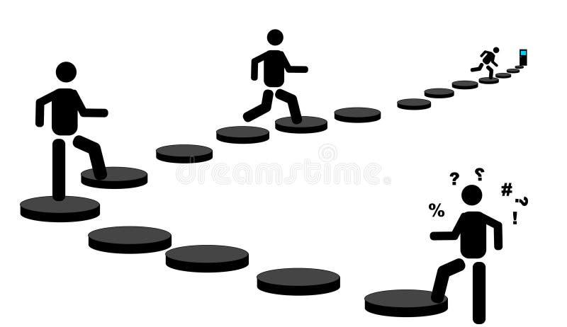 Siluetas de la gente hacia sus metas. libre illustration