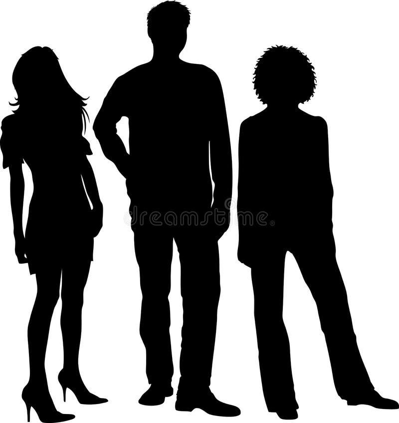 Siluetas de la gente joven stock de ilustración