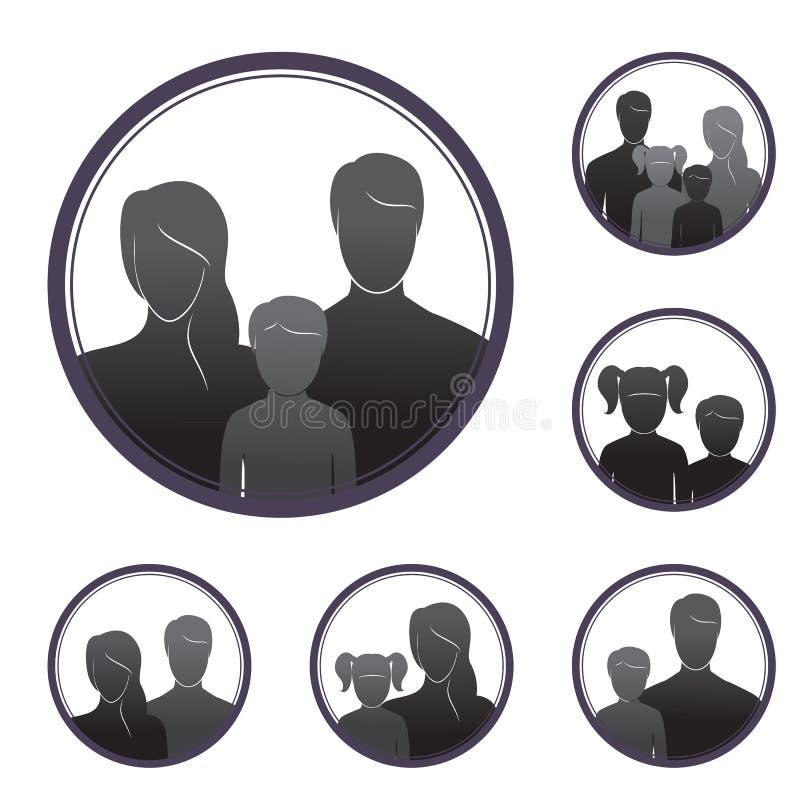 Siluetas de la gente, padres y niños, en el marco ilustración del vector