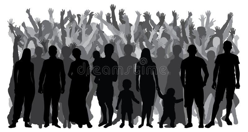 Siluetas de la gente que se coloca en crecimiento completo, muchedumbre Vector stock de ilustración