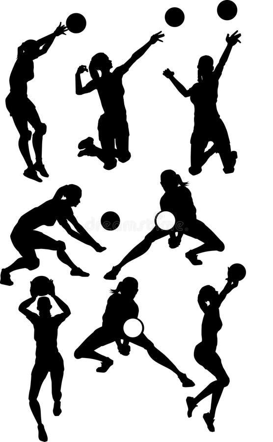 Siluetas de la hembra del voleibol stock de ilustración
