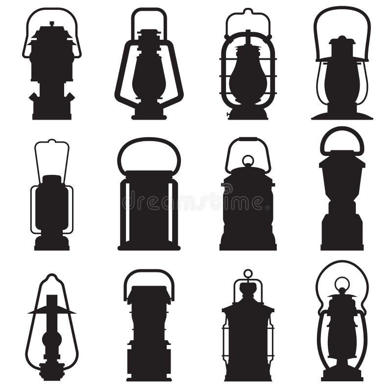 Siluetas de la linterna que acampan libre illustration