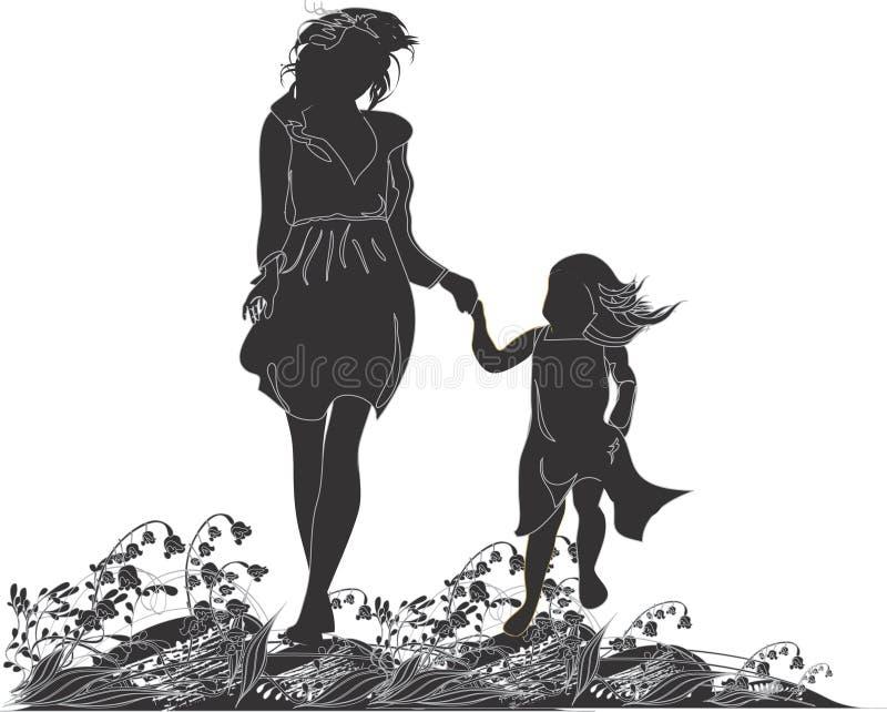 Siluetas De La Madre Y De Su Hija Stock de ilustración - Ilustración ...
