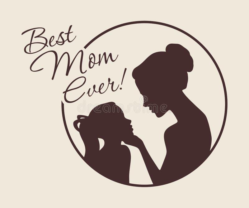 Siluetas de la madre y de la hija La mejor tarjeta del vintage de la mamá nunca Vector libre illustration