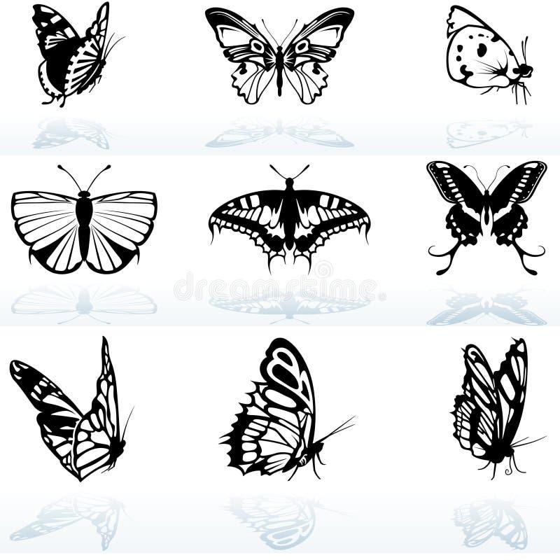 Siluetas de la mariposa ilustración del vector