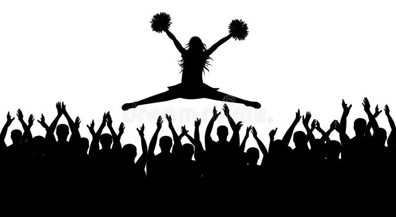 Siluetas de la muchacha de salto con salto del stredl de los pompoms y la muchedumbre de aplauso Ilustración del vector ilustración del vector