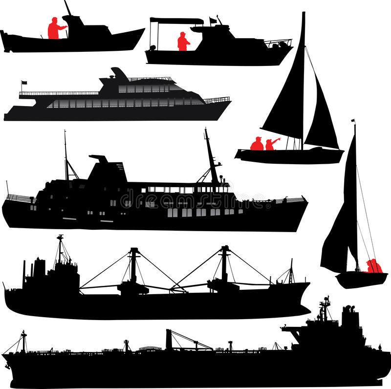 Siluetas de la nave stock de ilustración