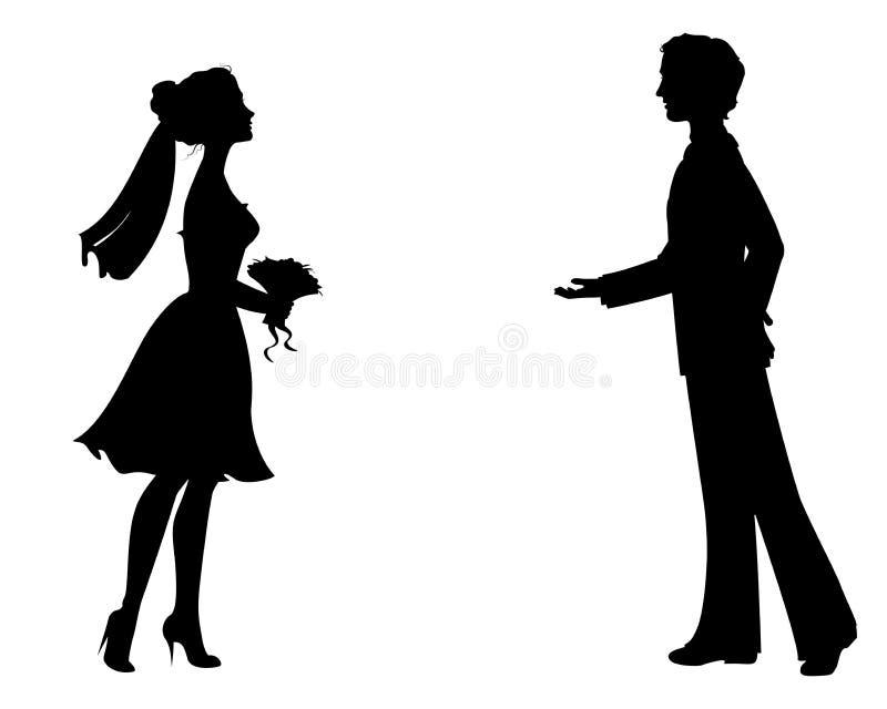 Siluetas de la novia y del novio libre illustration