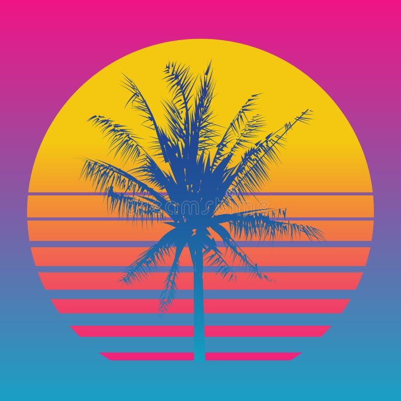 Siluetas de la palmera en una puesta del sol del fondo de la pendiente Estilo 80 del ` s y 90 ` s, web-punky, vaporwave, kitsch stock de ilustración