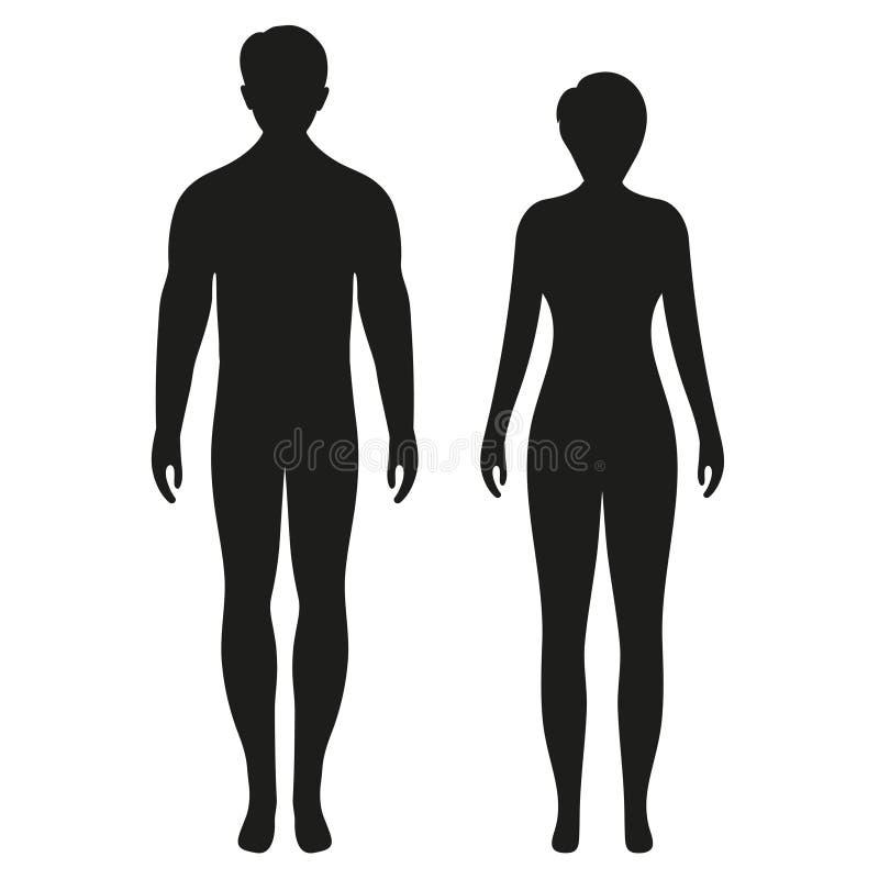 Siluetas de la situación del hombre y de la mujer, par, color negro, aislado en el fondo blanco ilustración del vector