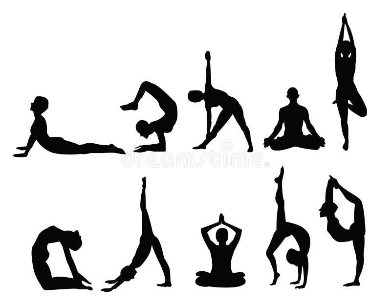 Siluetas de la yoga ilustración del vector
