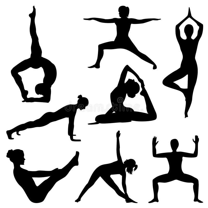 Siluetas de la yoga practicante de la muchacha fotos de archivo