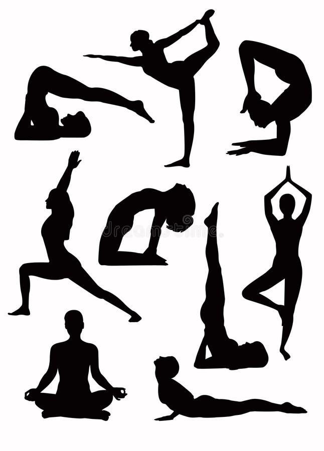 Siluetas de la yoga - vector ilustración del vector