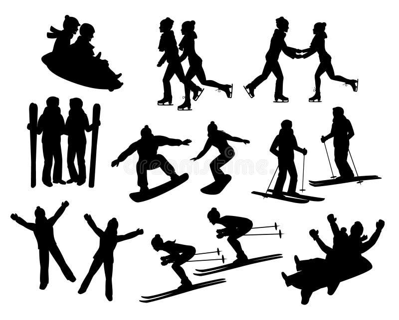 Siluetas de las actividades de la diversión del invierno del ` s de los pares fijadas ilustración del vector