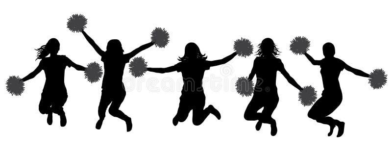 Siluetas de las animadoras que saltan a muchachas con los pompoms, aisladas Ilustración del vector libre illustration