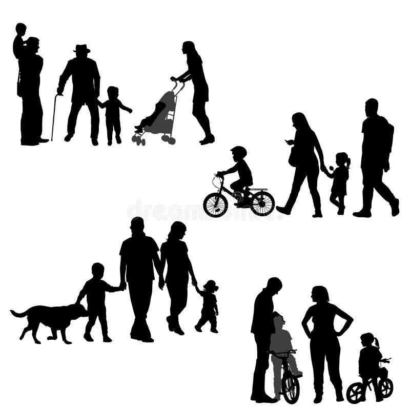 Siluetas de las familias fijadas en el fondo blanco ilustración del vector