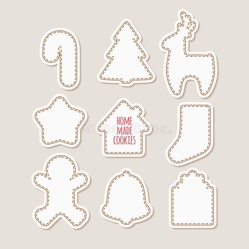 Siluetas de las galletas del pan de jengibre homemade ilustración del vector