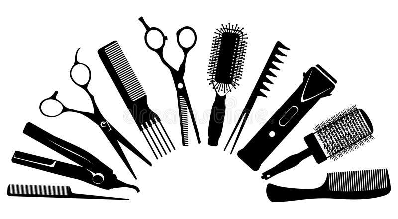 Siluetas de las herramientas para el peluquero ilustración del vector