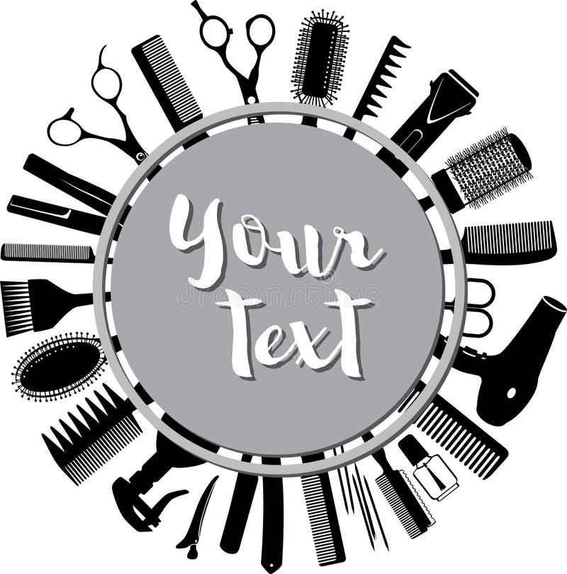 Siluetas de las herramientas para el peluquero en un círculo stock de ilustración