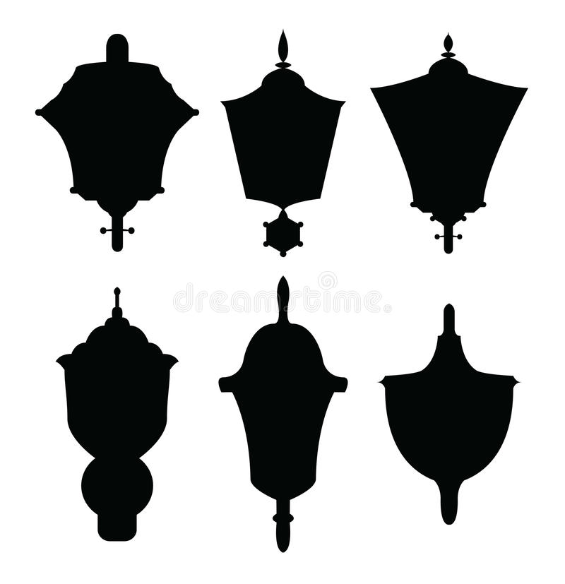 Siluetas de las lámparas de la decoración stock de ilustración