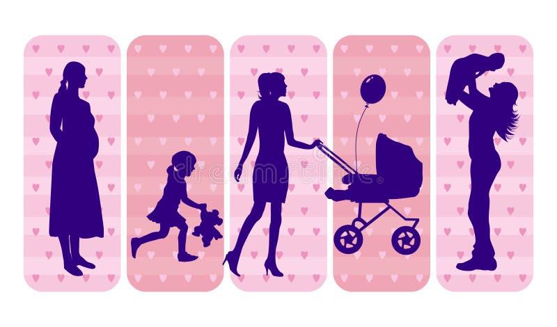 Siluetas de las madres y de los niños stock de ilustración