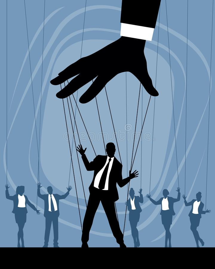 Siluetas de las marionetas del negocio stock de ilustración