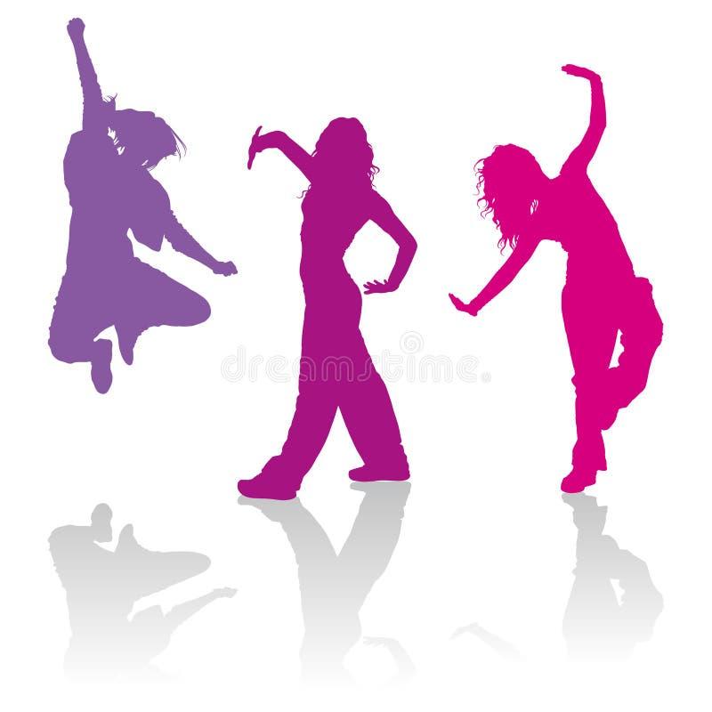 Siluetas de las muchachas que bailan danza del miedo del jazz stock de ilustración
