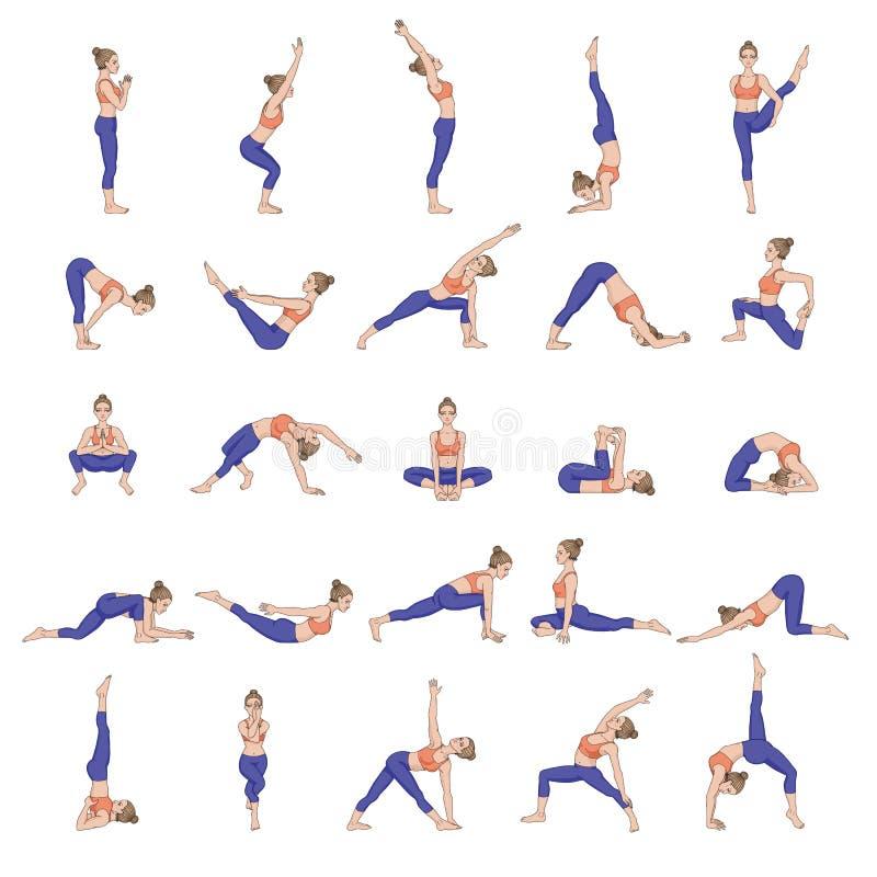 Siluetas de las mujeres Colección de actitudes de la yoga Sistema de Asana ilustración del vector