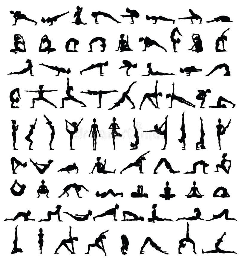 Siluetas de las mujeres Colección de actitudes de la yoga Sistema de Asana libre illustration