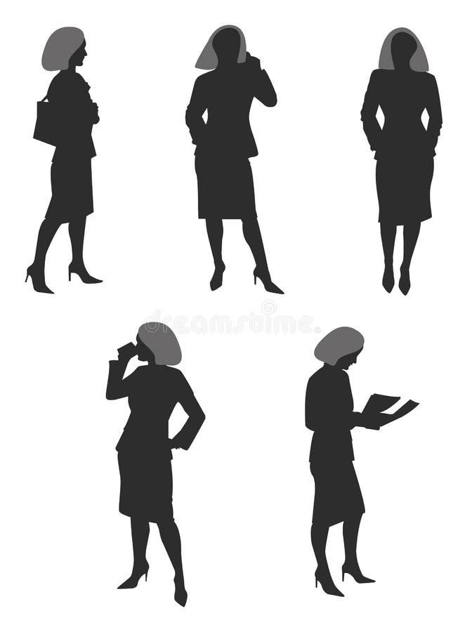 Siluetas de las mujeres de negocios stock de ilustración