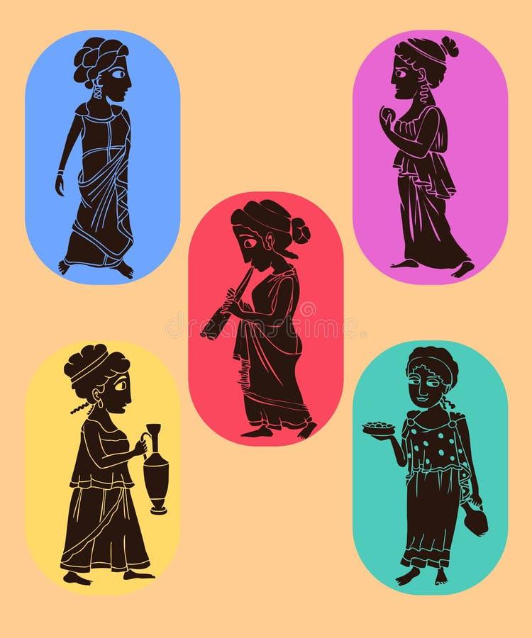 Siluetas de las mujeres del griego clásico ilustración del vector