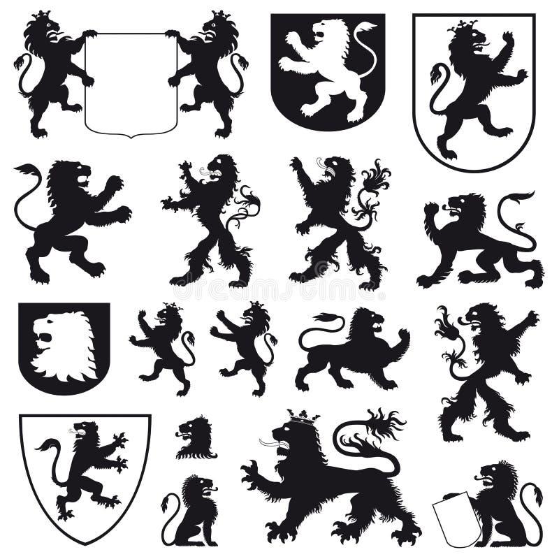 Siluetas de leones heráldicos ilustración del vector