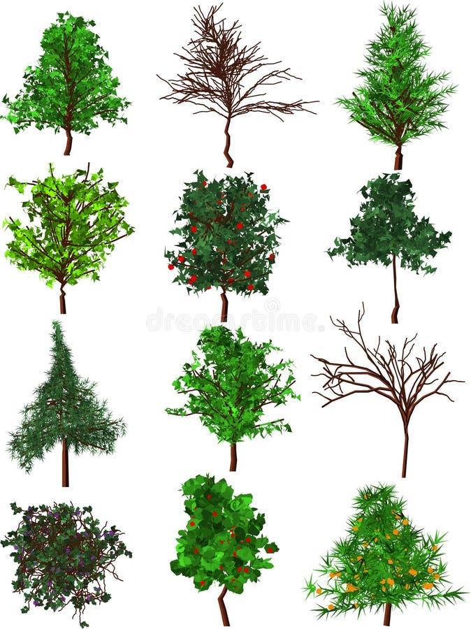 Siluetas de los árboles. ilustración del vector