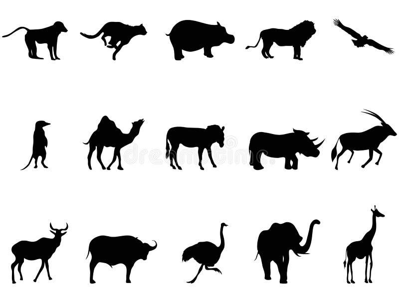Siluetas de los animales de África stock de ilustración