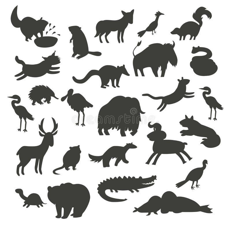 Siluetas de los animales de Norteamérica, aisladas en el ejemplo blanco del vector del fondo Sistema grande del vector del contor stock de ilustración