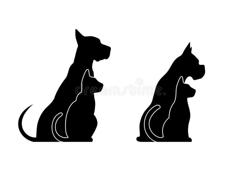 Siluetas de los animales domésticos, perro del gato ilustración del vector
