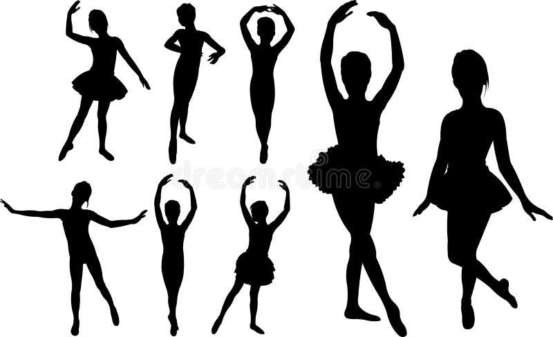 Siluetas de los bailarines de las muchachas del ballet libre illustration