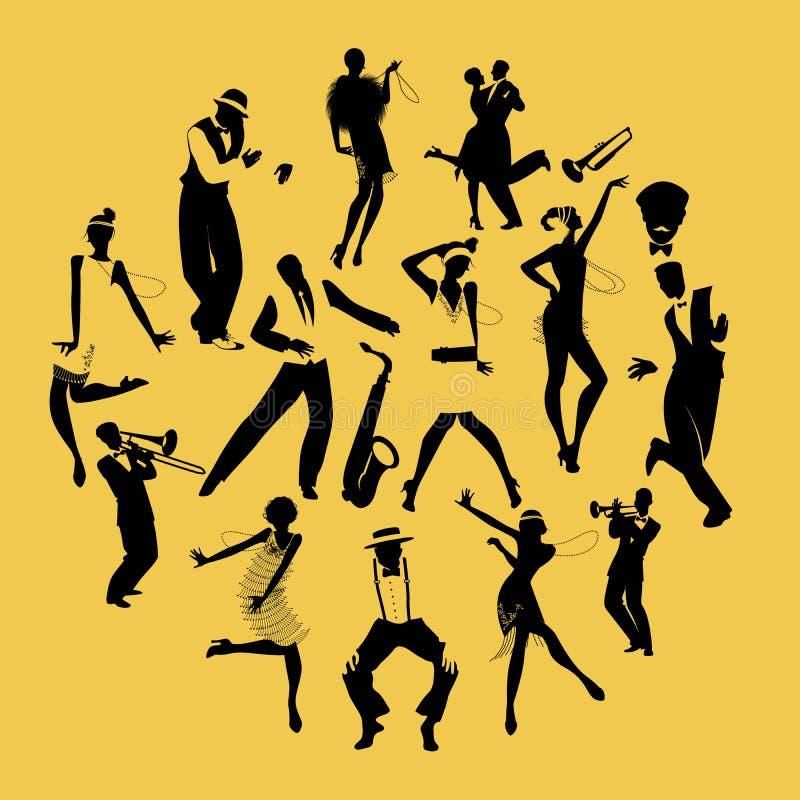 Siluetas de los bailarines que bailan a los músicos de Charleston y de jazz stock de ilustración