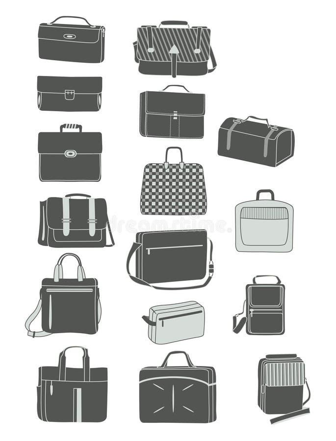 Siluetas de los bolsos de los hombres libre illustration