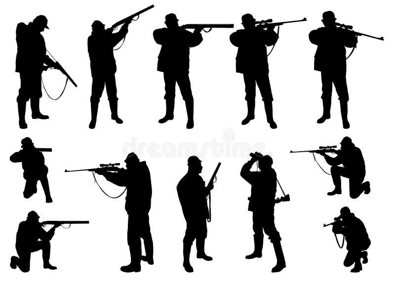 Siluetas de los cazadores ilustración del vector