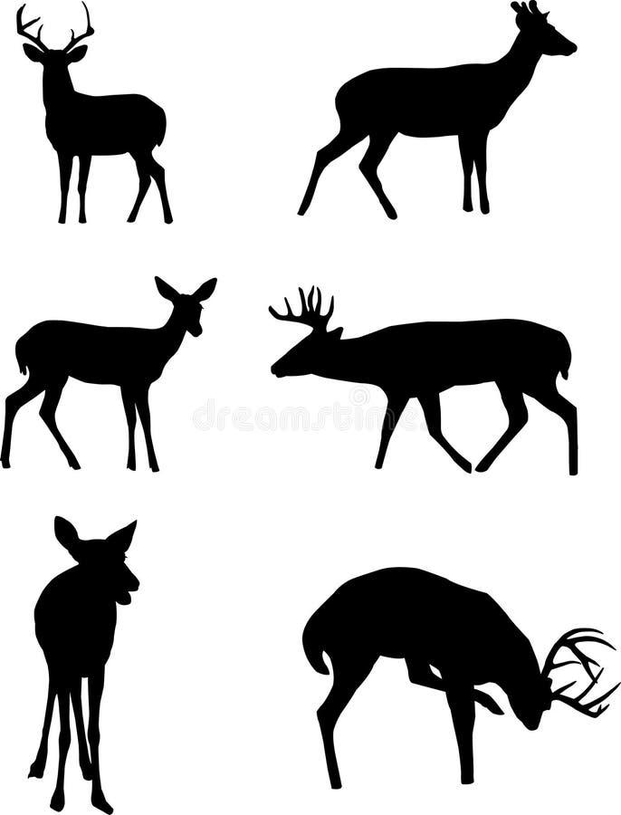 Siluetas de los ciervos. ilustración del vector