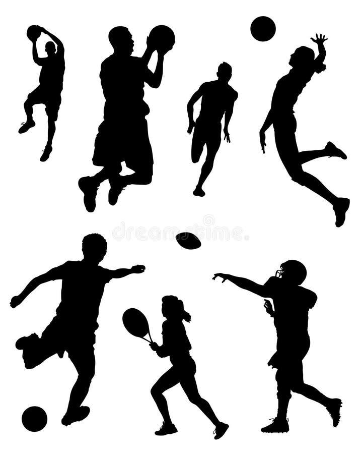 Siluetas de los deportes stock de ilustración