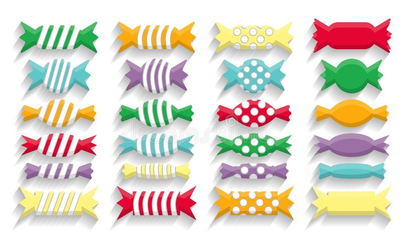 Siluetas de los dulces en el estilo plano EPS 10 ilustración del vector