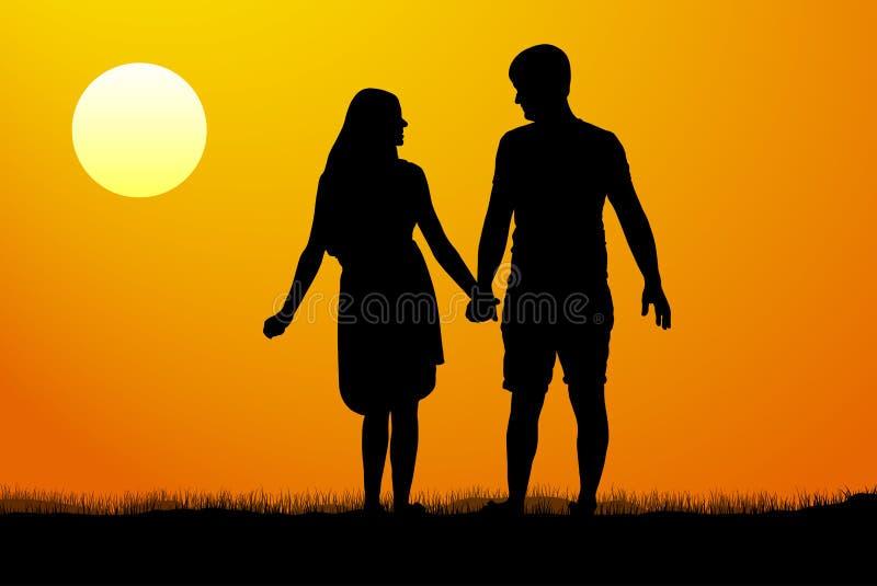 Siluetas de los hombres y de las mujeres que colocan y que llevan a cabo las manos en la puesta del sol Ilustración del vector libre illustration