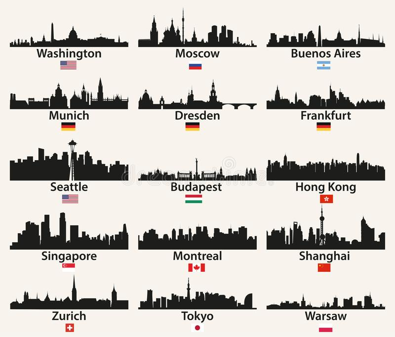 Siluetas de los horizontes de la ciudad del mundo del vector con las banderas ilustración del vector