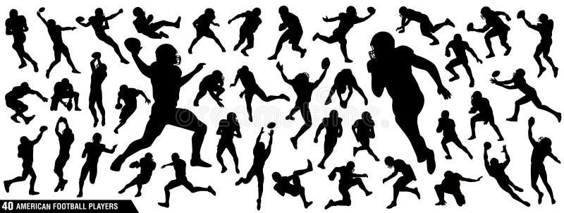 Siluetas de los jugadores de fútbol americano stock de ilustración