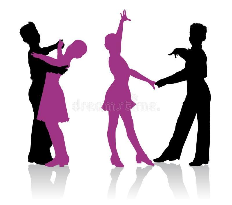 Siluetas de los niños que bailan danza de salón de baile ilustración del vector