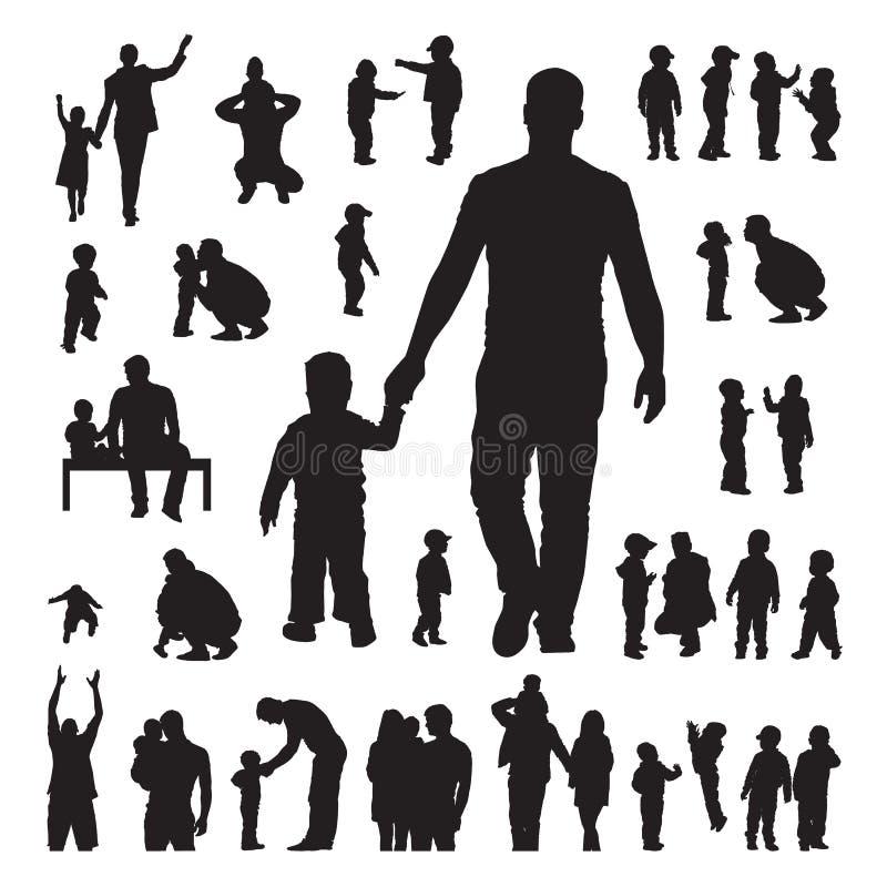 Siluetas de los niños y de los padres fijadas ilustración del vector