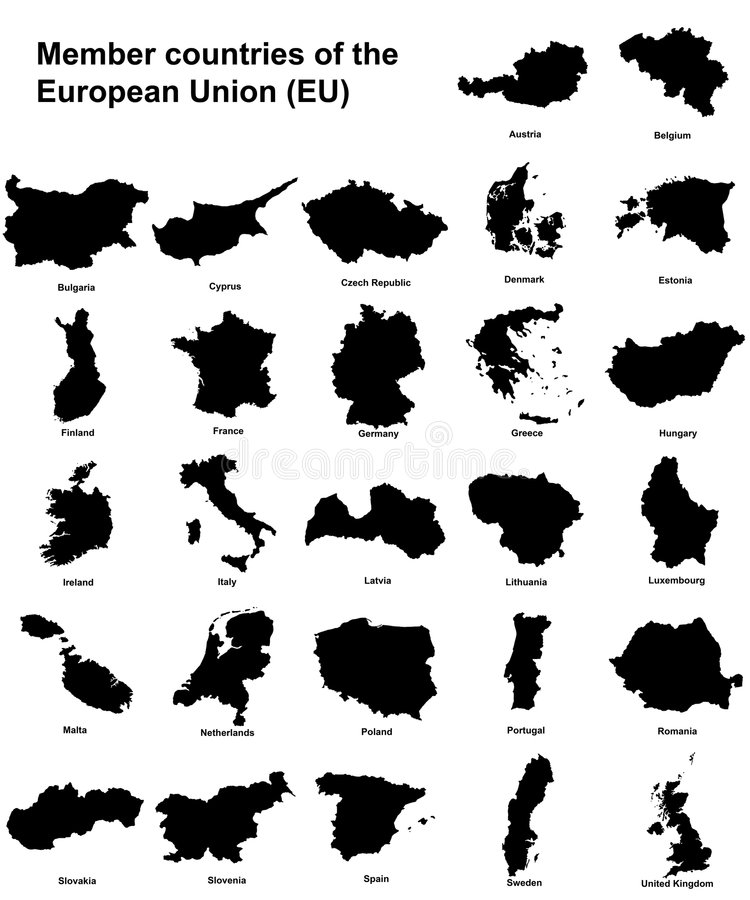 Siluetas de los países de UE ilustración del vector